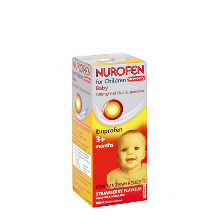 NUROFEN IBUPROFEN BĒRNU STRAWBERRY suspensija 200mg/5ml 100ml